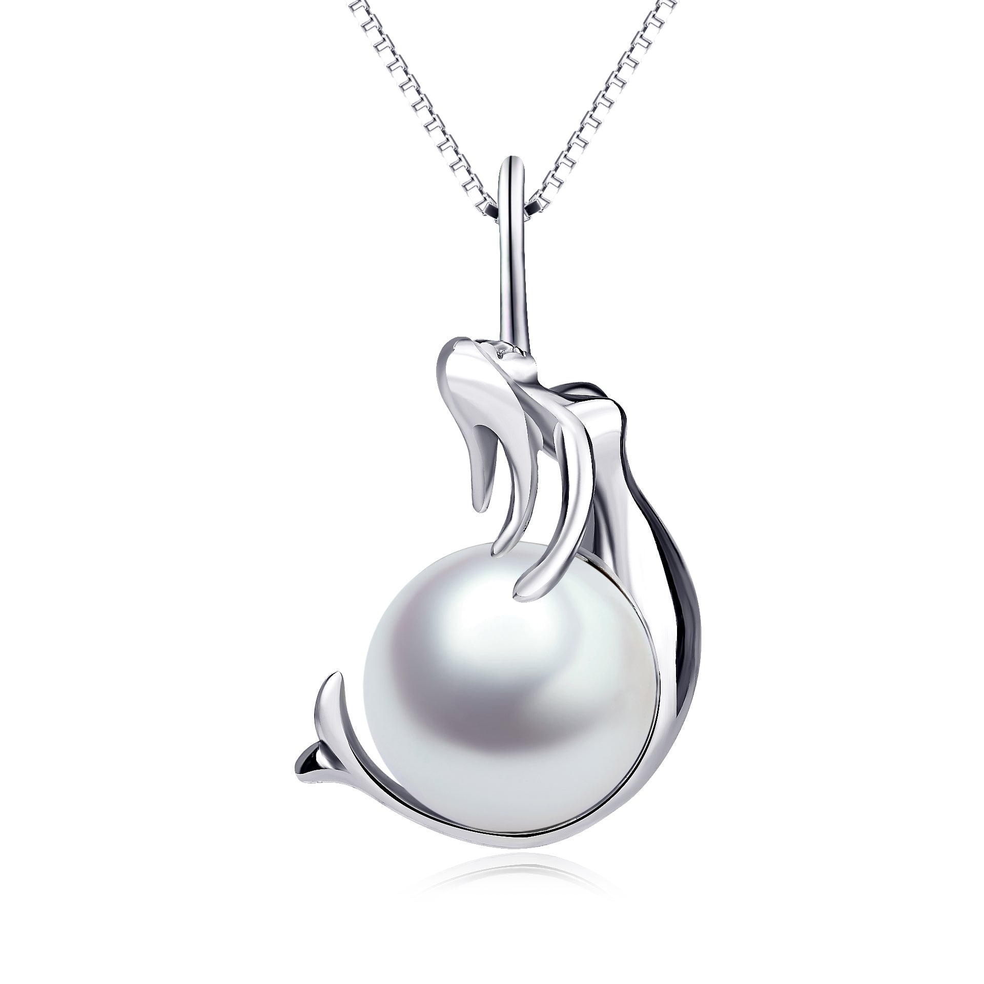 Round Big Pearl Necklace Mermaids Ocean Silver Design Necklace