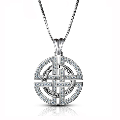 Celtic knot CZ necklace pendant  Sterling silver  jewelry