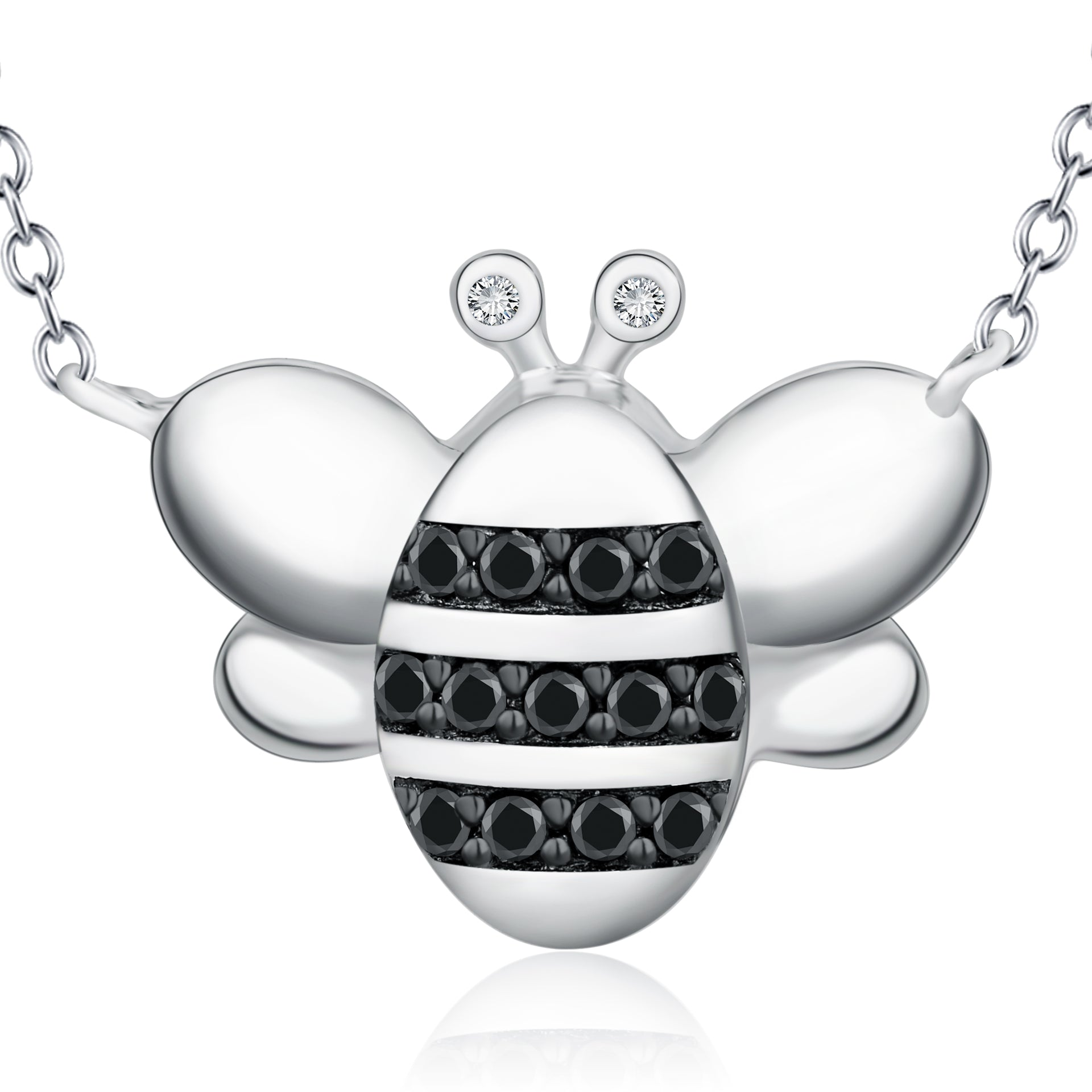 Black Zirconia Bee Necklace Animal Friends Like Silver Necklace