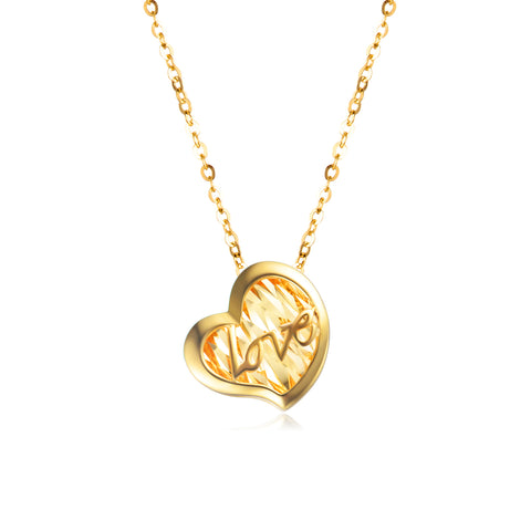 18K Gold Love Pattern Hollow Pendant Necklace