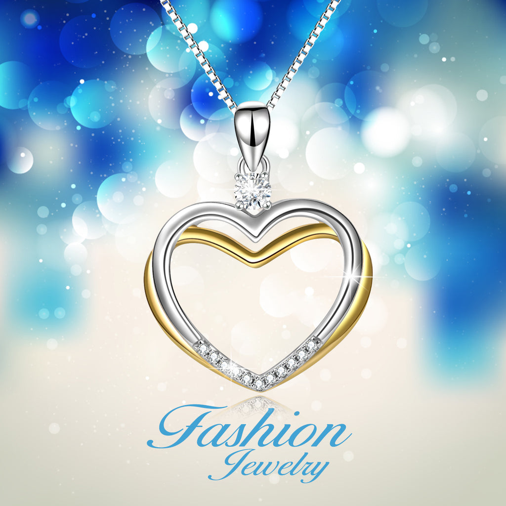 Cubic Zirconia Jewelry Double Heart Rhodium And Gold Plating Necklace