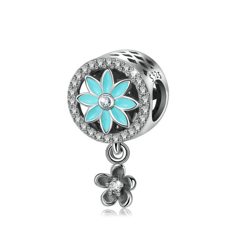 Flower Crystal Zircon beads charms Sterling Silver Beaded Ornament Bracelet Beads Pendant Accessories
