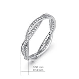 Cubic Zircon finger Wedding  Ring Custom Ladies Jewelry Rhodium Plated Silver Engagement Luxury