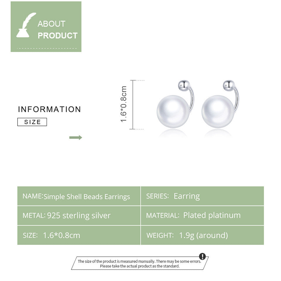 925 Sterling Silver Simple Shell Beads Stud Earrings for Women  Fashion Jewelry