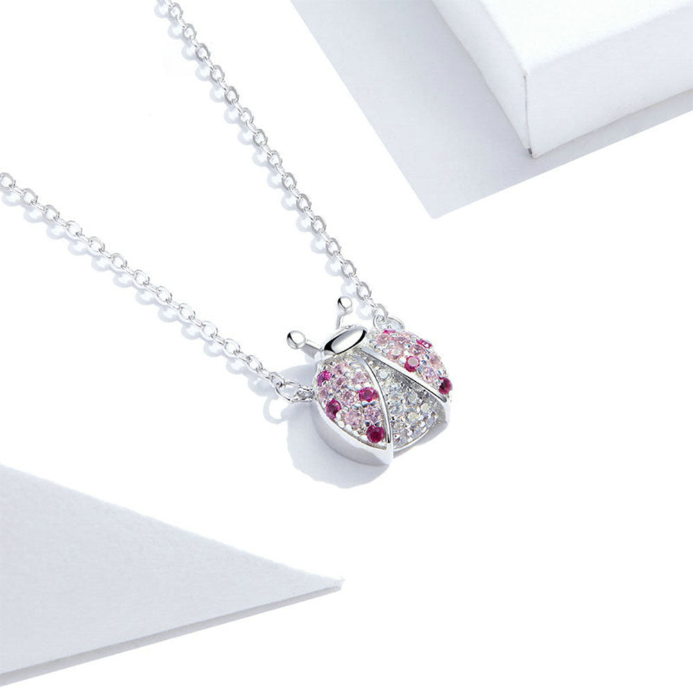 925 Sterling Silver Beautiful Pink Ladybug Pendant Necklace Fashion Jewelry For Women