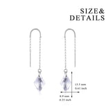 Long Tassel Earring with Gemstone Silver Wire Women Party Earrings