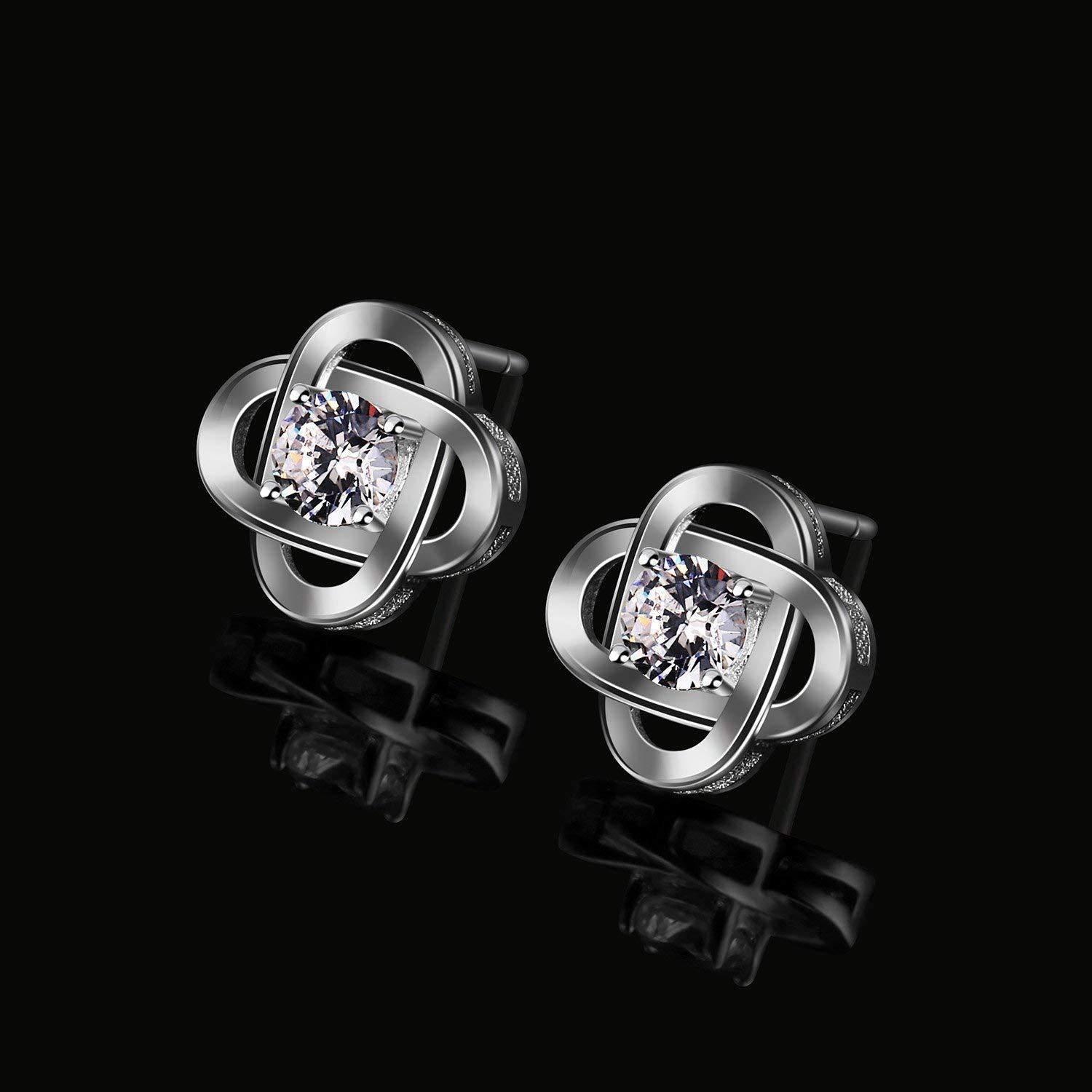 S925 Sterling Silver Korean Fashion Personality Four-Leaf Clover Zircon Earrings Jewelry Cross-Border Exclusive