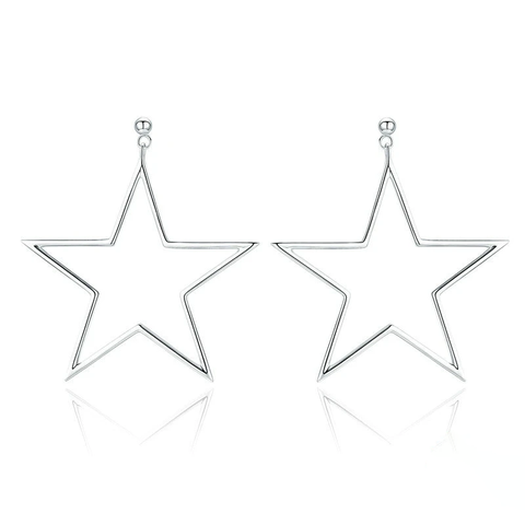 Silver Punk Rock Star Stud Earrings