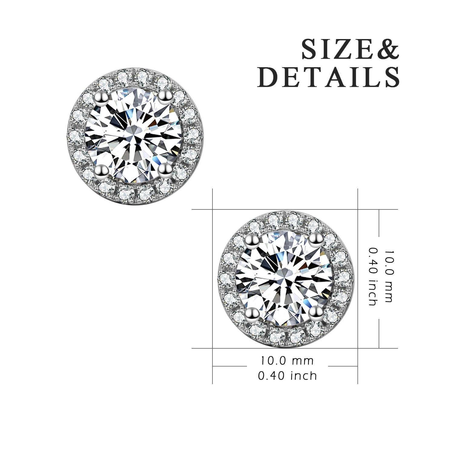 Round Little High Quality Cubic Zirconia Earrings Beautiful Stone Stud Earrings
