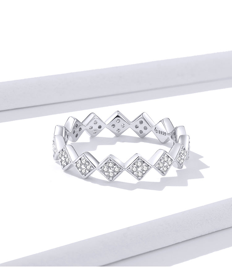 925 Sterling Silver Geometric Design Simple Stackable Rings Precious Jewelry For Women