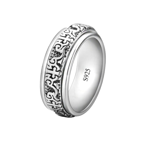 Wide Band Fashion Spinner Ring 8mm Biker Style 925 Sterling Silver