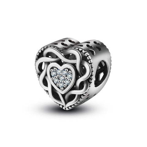 Hollow Heart Shaped zircon Beads Accessories  Sterling Silver Beaded Jewelry Accessories