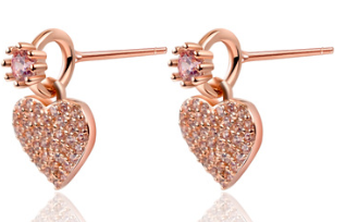 Korean Version Of S925 Micro-Set Pink Diamond Love Earrings Small And Delicate Heart-Shaped Earrings Wholesale