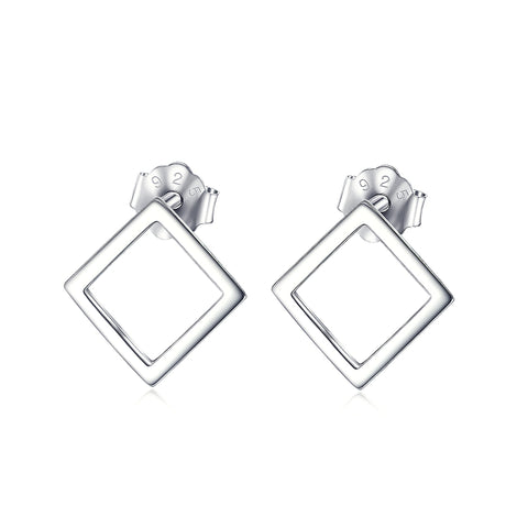 925 Sterling Silver The Diamond Shaped Stud Earring