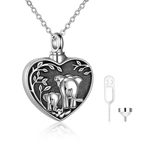 Elephant Urn Necklace for Ashes for Women Sterling Silver Forever in My Heart Cremation Necklace Jewelry Gifts