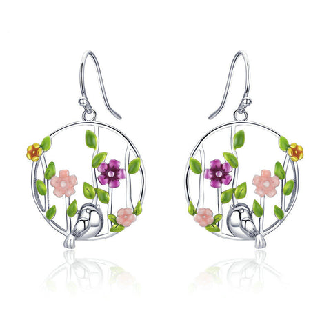 Blooming Forest Birds Secret Drop Earrings