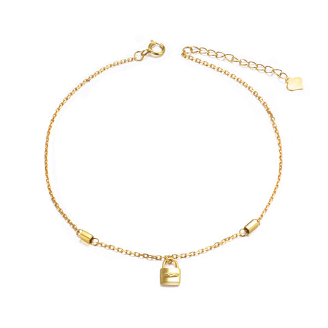18K Gold European And American Fashion Trend Cross-Border Jewelry Linked Love Anklet