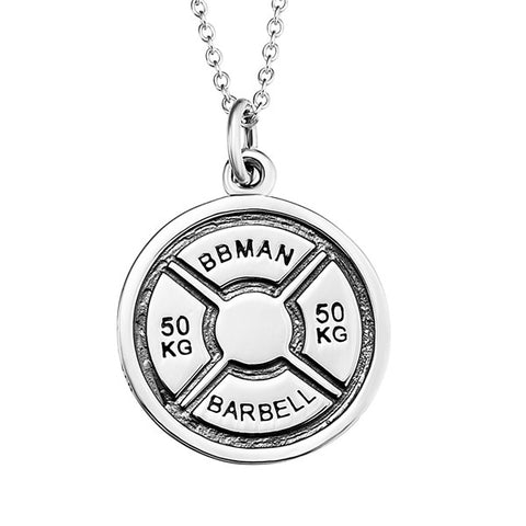 Barbell Weightlifting Necklace Athlete Silver Jewelry