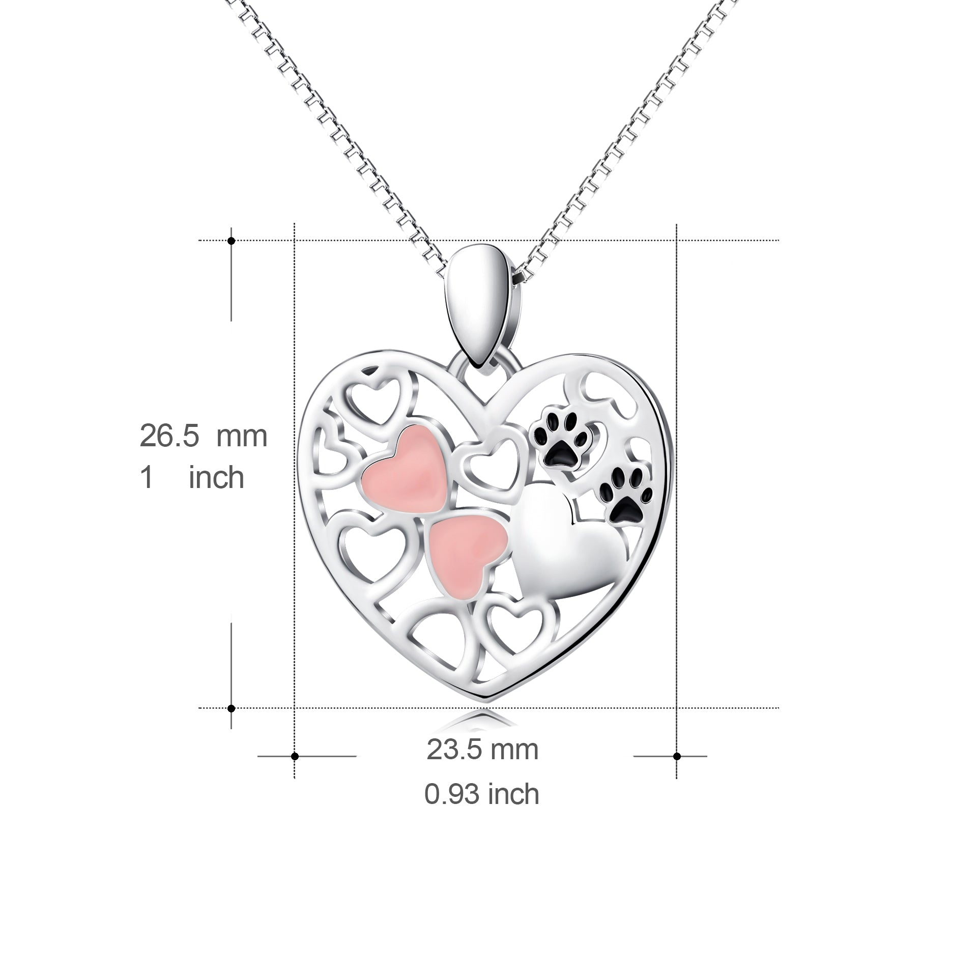 Colorful Enamel Necklace Hollow Puppy Cat Claw Silver Necklace
