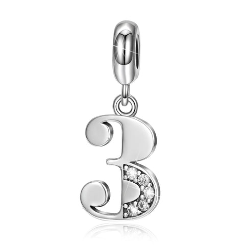 "Tree ""3"" Number Beads Silver Charm Wholesale Bracelet Charms"