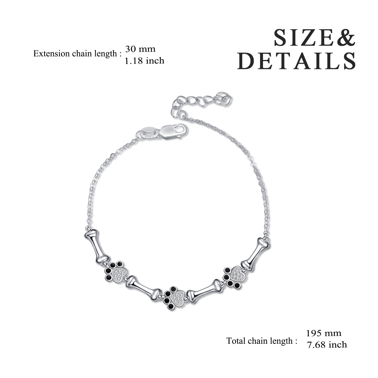 Little Paw Charms Dog's Paw Bracelet for Girl In Sterling Silver
