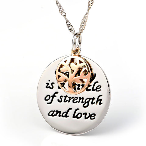 Family is a circle of strength and love necklace engraved jewelry silver