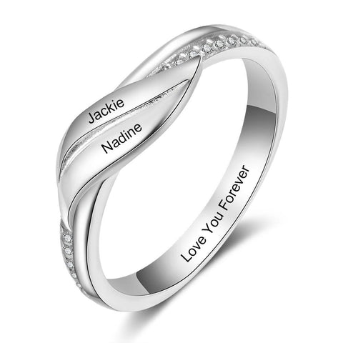 Personalized 2 Names Rings for Women Geometric Customized Engraved Ring with Zirconia Wedding Jewelry