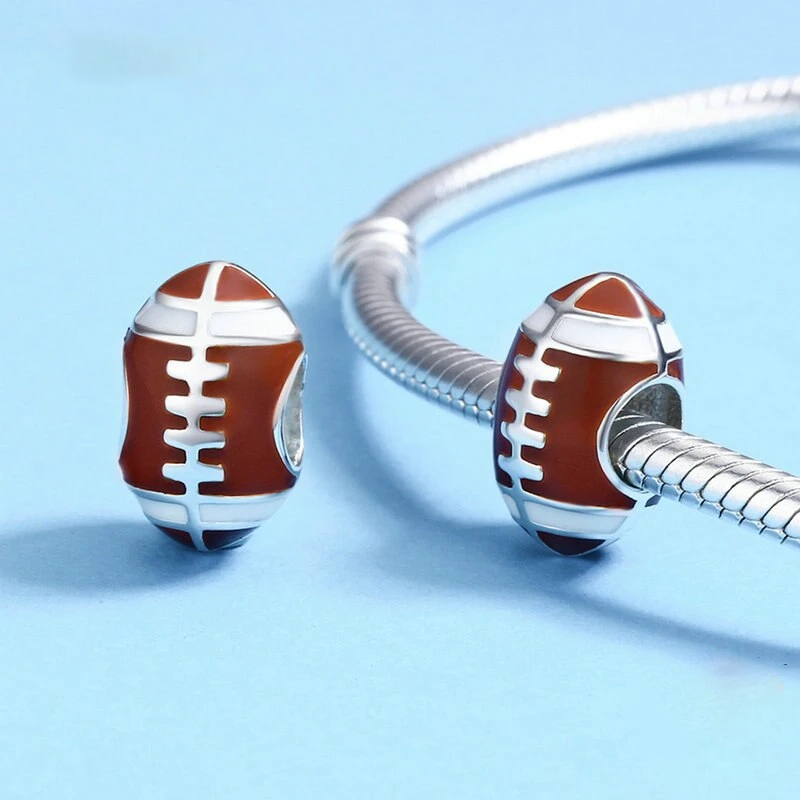 Sport Collection  925 Sterling Silver American Football Sport Ball Charm Beads Fit Charm Bracelet  Jewelry