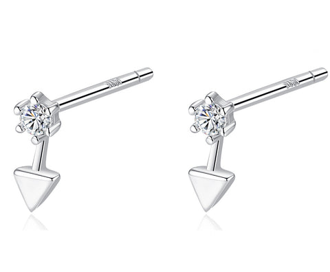 Tiny Triangle Earrings 925 Sterling Silver Clear CZ with Small Triangle Jewelry