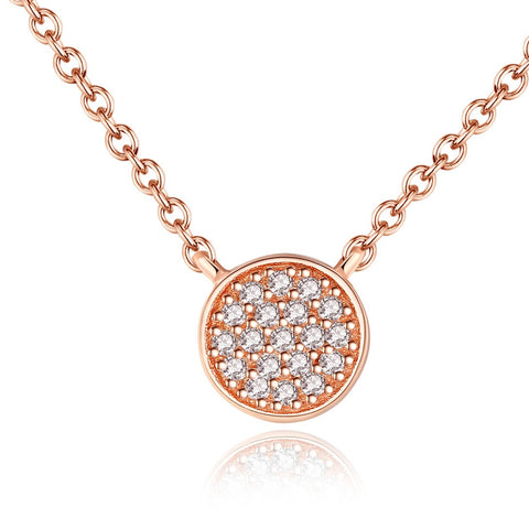 7mm Pave CZ Disc 925 Sterling Silver Pendant Necklace With Rose Gold Plating