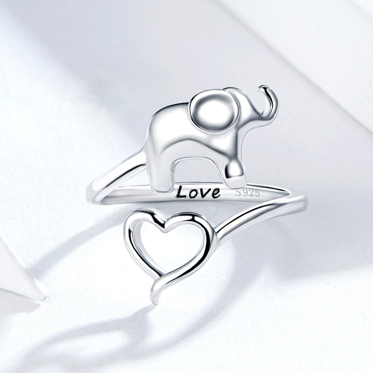 S925 sterling silver elephant heart open ring white gold plated ring
