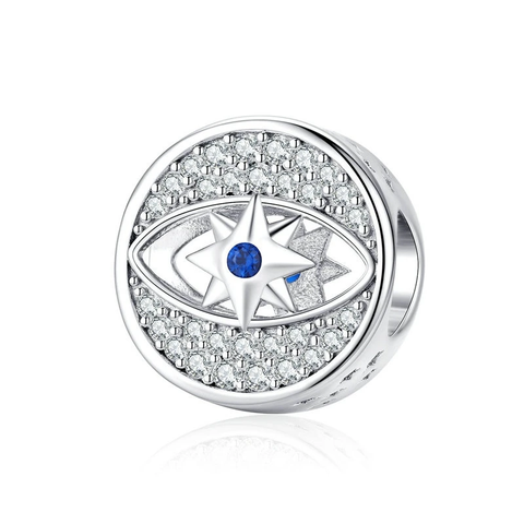 Silver  Star in Eye Round Beads Charm