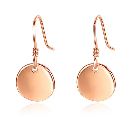2cm Disc Dangle Earrings Rose Gold Plated 925 Sterling Silver Plain Disc Jewelry