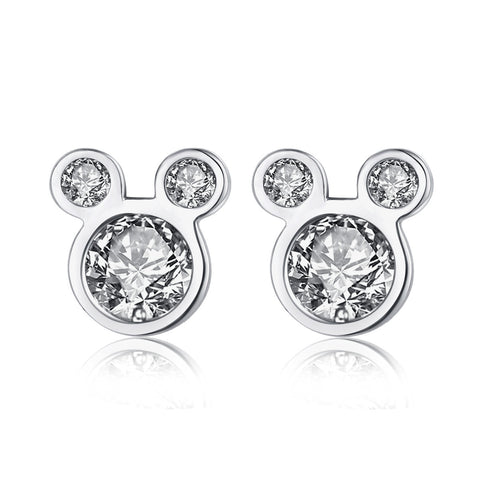 Cute mouse head zircon stud earrings S925 sterling silver simple jewelry earrings