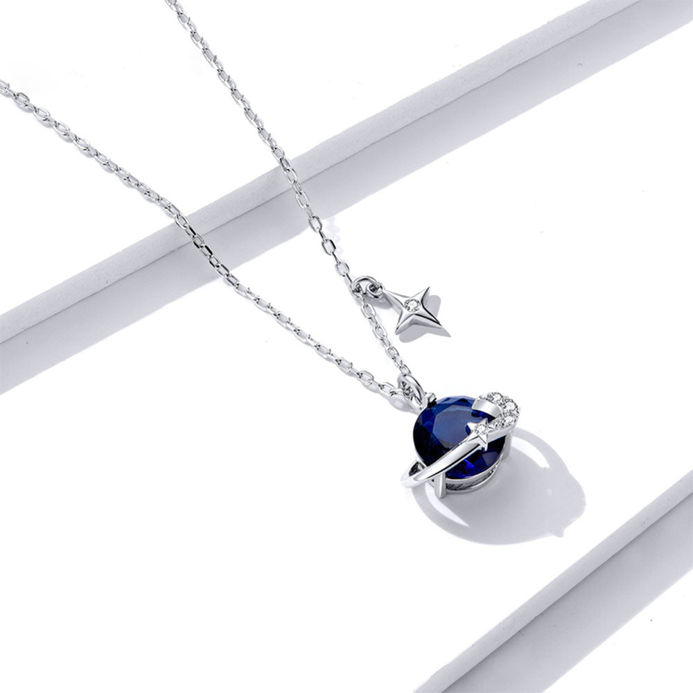 925 Sterling Silver Dreamlike Blue Planet Pendant Necklace Fashion Jewelry For Women