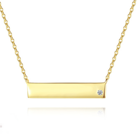 Horizontal Bar yellow gold  crystal pendant S925 Sterling silver necklace fashion Anniversary