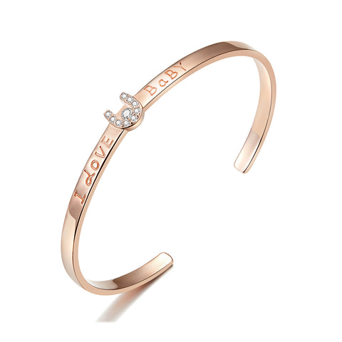 silver rose gold plated zircon confession bangle bracelet