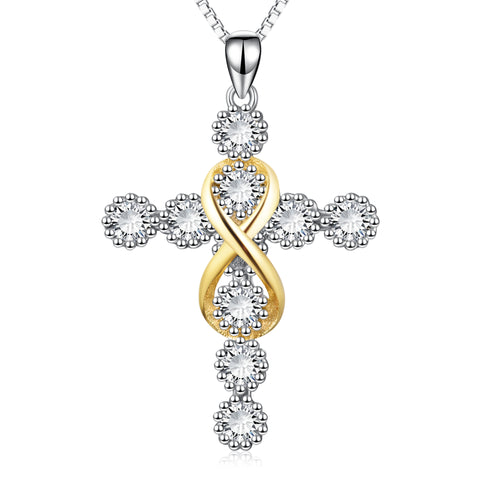 Zirconia Linked Cross Pendant Necklace Silver Sterling Men Love Necklace