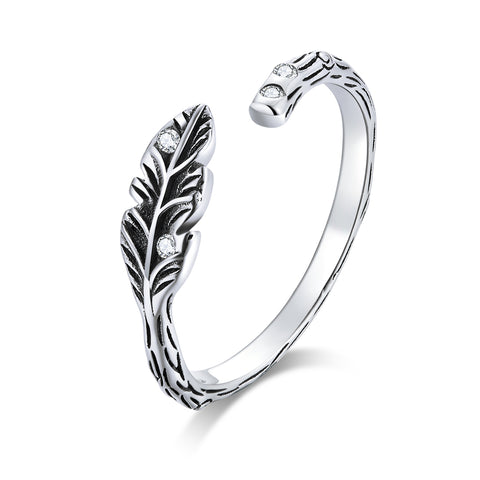 Four Seasons Leaf Silver Ring