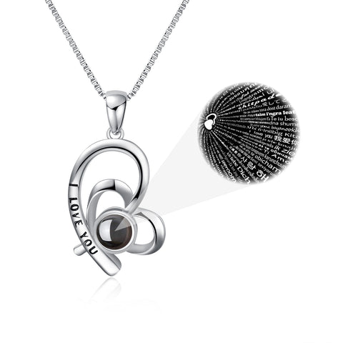 "100 Language ""I Love You"" Necklace 925 Sterling Silver Heart Shaped Love Pendant Necklace With 18inc Chain"