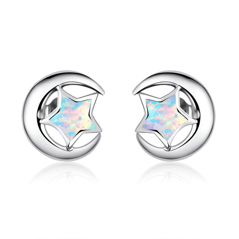 Moon and Star 2 Colors Opal Stud Earrings