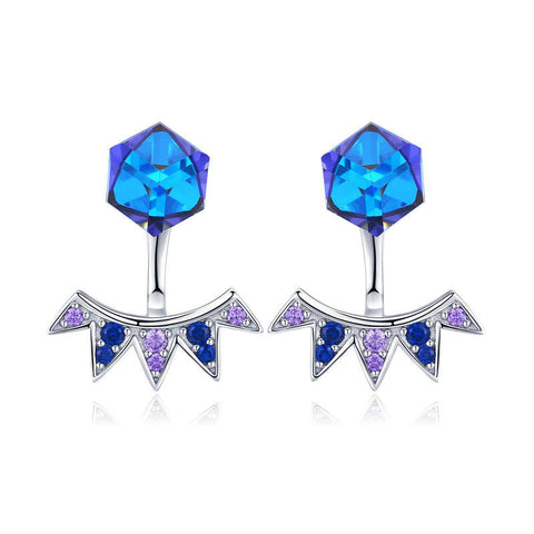 Blue Square Geometric Exquisite Stud Earrings