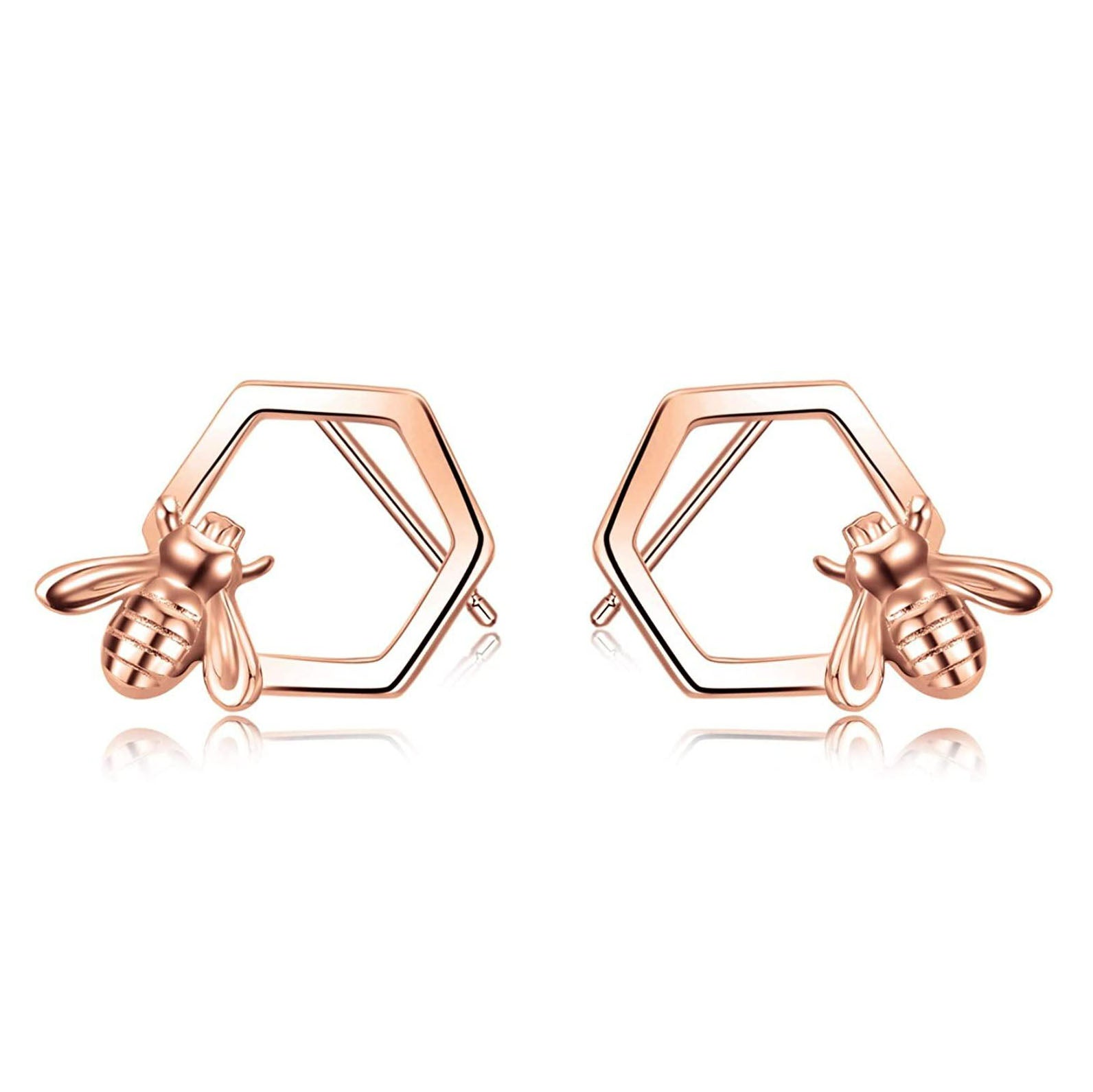 Honeycomb with Bee Stud Earrings 925 Sterling Silver Beehive and Bee Earrings for Women