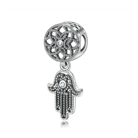 S925 Sterling Silver Beaded Palm Bracelet Accessories Fatima Hand Necklace Pendant Accessories