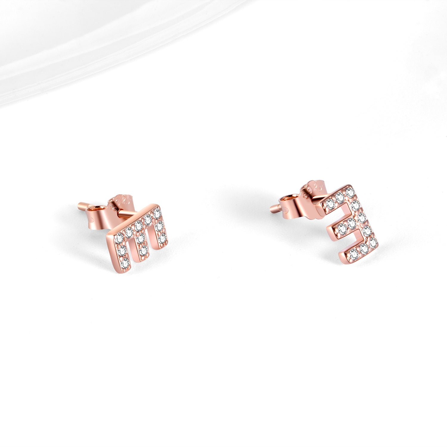 Rose Gold Color Cubic Zirconia Earrings Alphabet E Jewelry Design