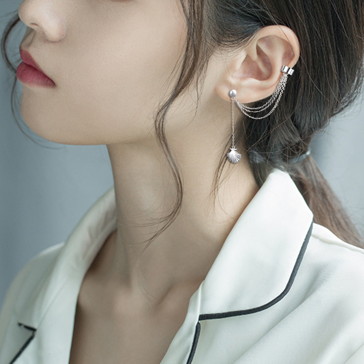 Scallop Ear Crawler Earring Climber Multi Layered Studs Cuffs Ear Wrap Pin Vine Charm Clip On Jewelry