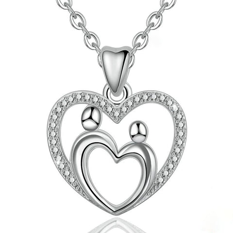 Mother & Child Love Heart Pendants Necklaces