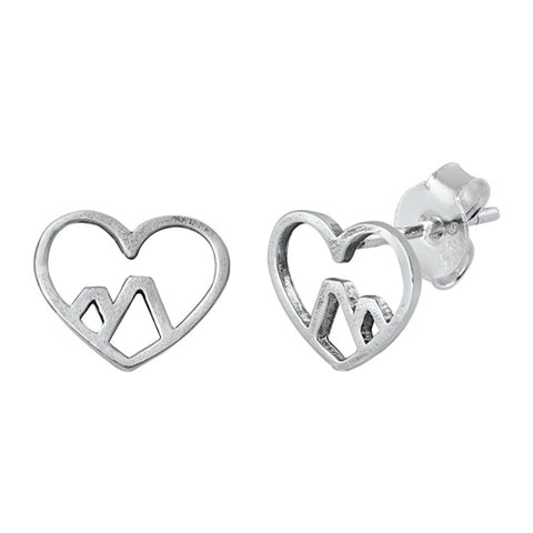 Silver Heart & Mountain Stud Earrings