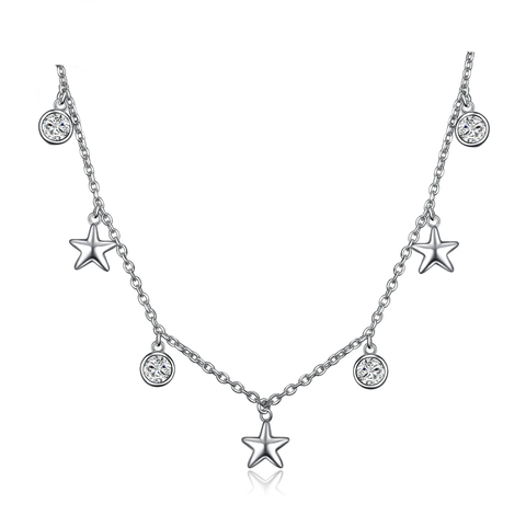 Star CZ Sterling Silver Pendant Necklace