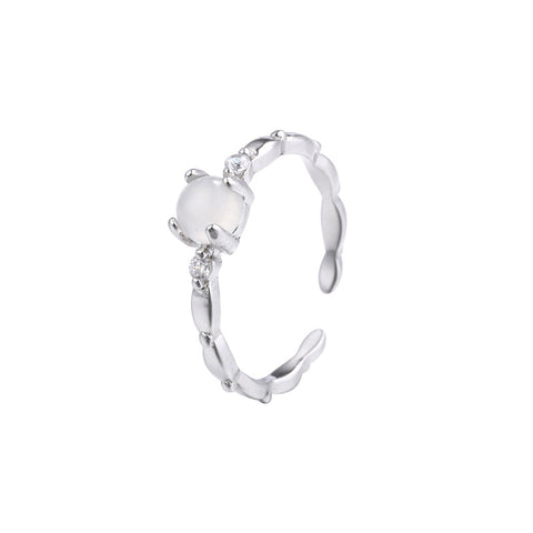 Frosty 925 Sterling Silver Ring Simple And Delicate Set With Zircon Ring Agate